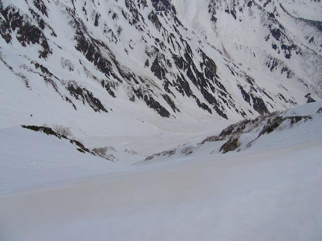 37 白馬大雪渓 (山頂手前の鞍部から)